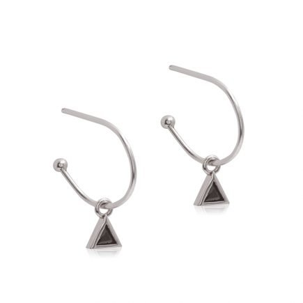 SILVER-TRIANGLE-BLACK-EARRING